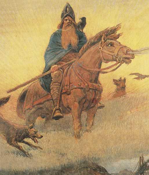 German God Odin On Horse Color