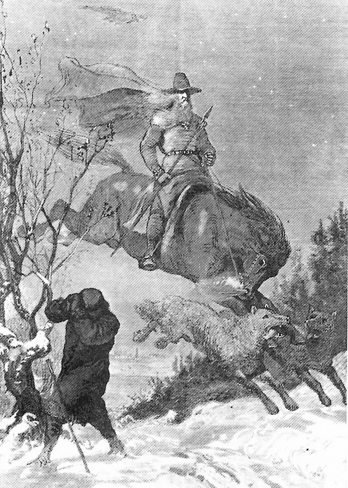 Germanic God Odin Leading Wild Hunt August Malmstrom