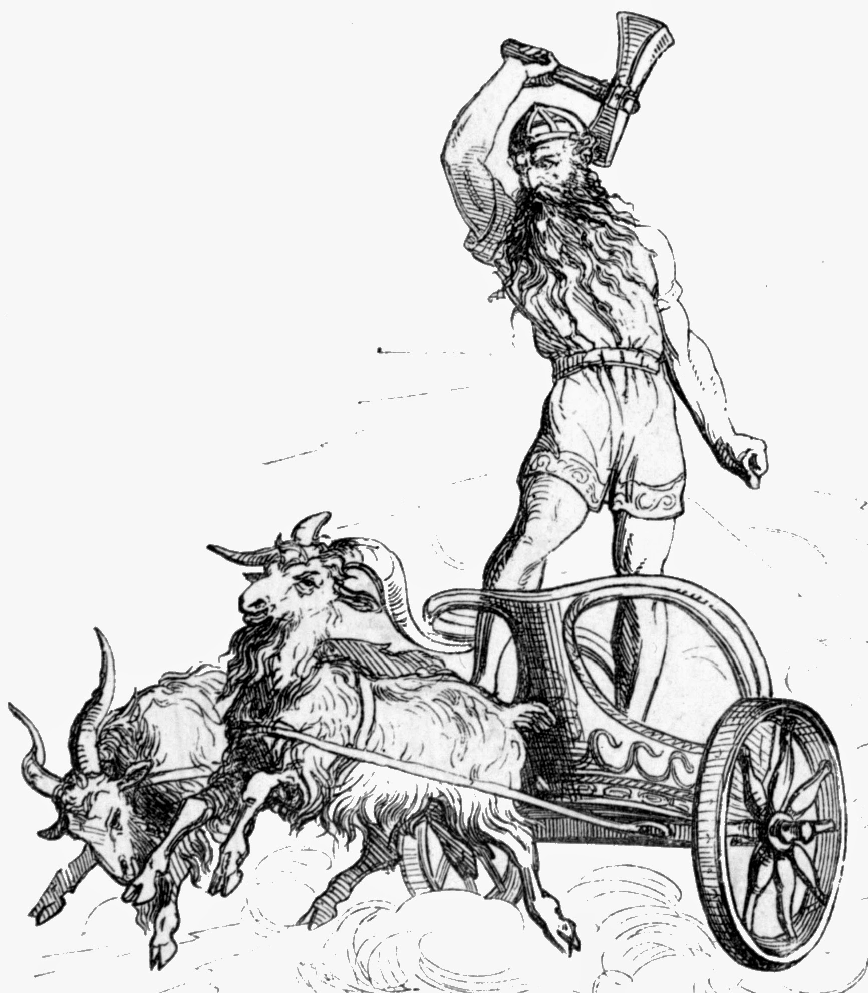 Nordic God Thor On Chariot With Goats