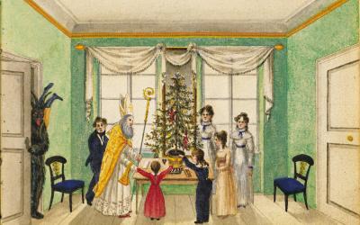 Saint Nicolaus der Krampus auch in's Haus 1820