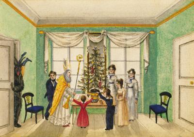 Am Christ=abend Under St Nicolaus Kam Der Krampus Auch Ins Haus Franz Xaver Von Paumgartten 1820
