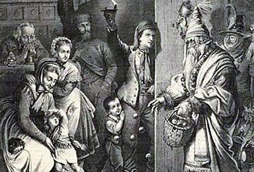 Das Niklasfest-Sint Niklas and Evil Helper 1876