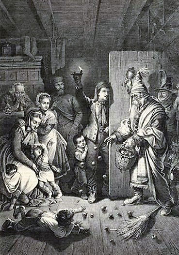 Das Niklasfest Sint Niklas And Evil Helper Nach Karl Jauslin 1876