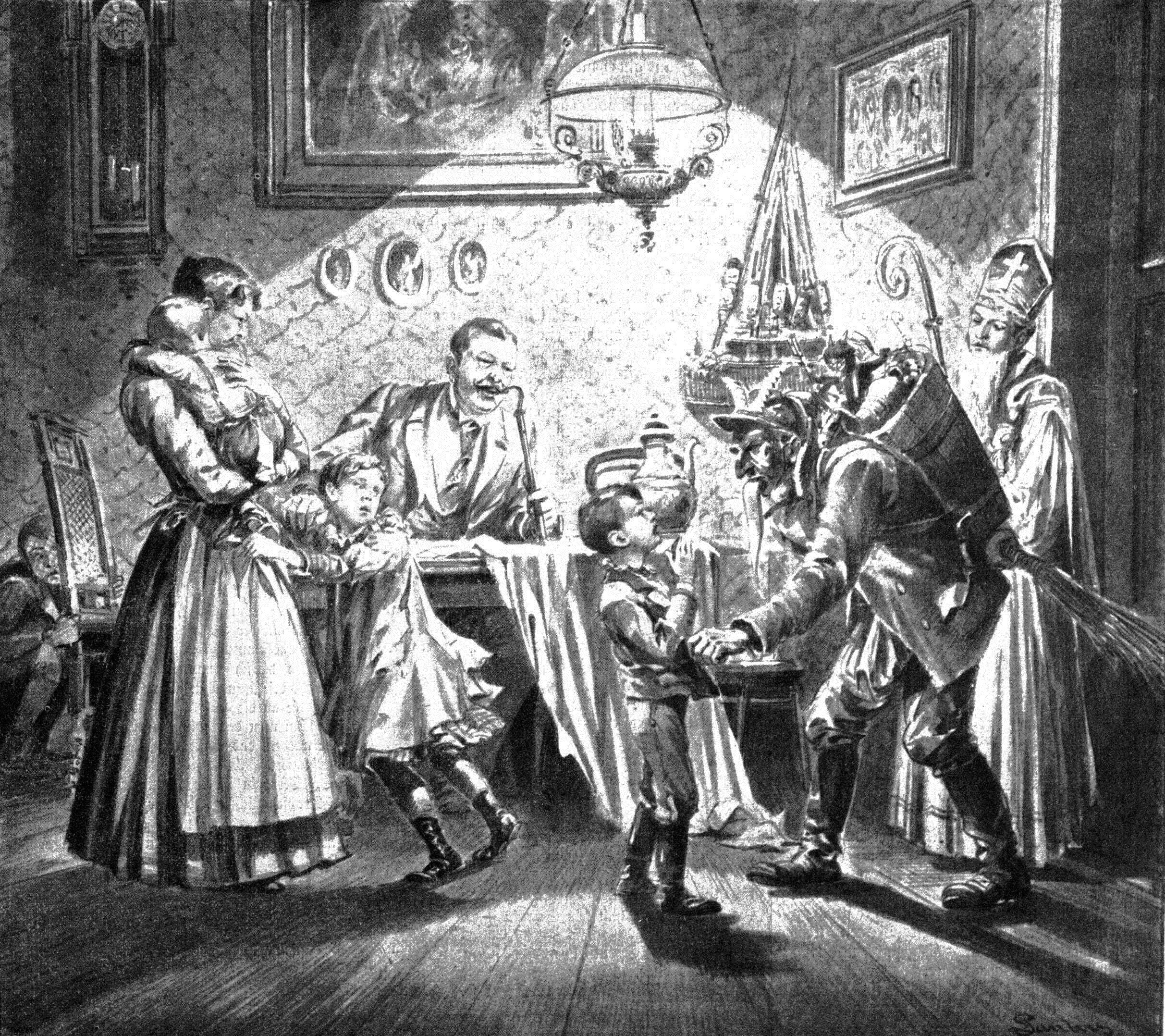 Nikolaus And Krampus In Viennese Home 1896