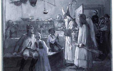 Nikolo with Christkindl, Krampus 1890