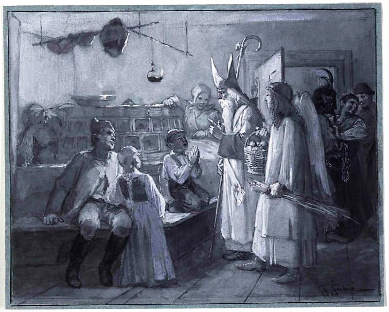 Nikolo With Christkindl Krampus Jurij Subic 1890