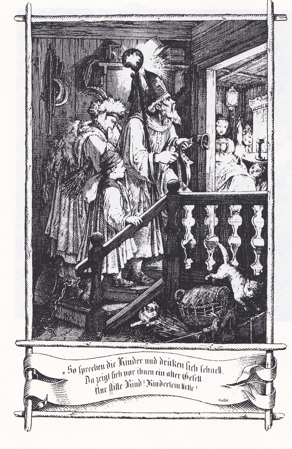 Saint Nikolaus Und Belzebub Bei Der Einker In Einem Schwarzwalder Haus J Nepomuk Heinemann 1853