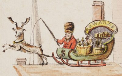 Santeclaus in sleigh by Arthur Stansbury, The Children's Friend, 1821