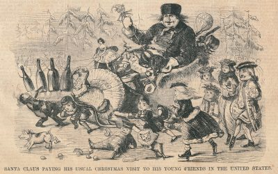 Santa With Turkey: Harper's Weekly, cover, December 25, 1858